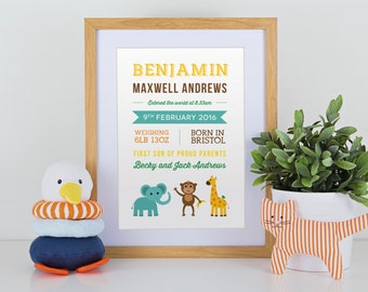 Personalised new baby birth announcement print with safari theme for gift, nursery with or without frame