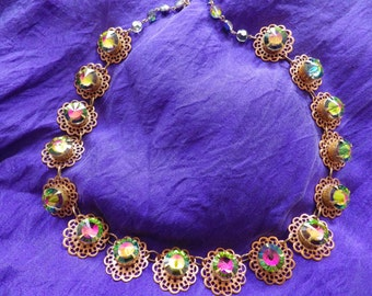 Color Burst Rhinestone Collar Necklace