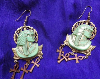 Egyptian Revival Inspired Earrings in Vintage Components