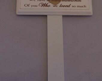 SON  MEMORIAL STICK, Graveside memoriel Marker Tribute Special Son Red Heart F1319G