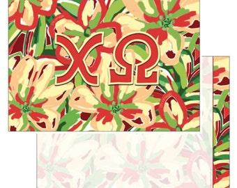 Chi Omega Notecard Set . 8 Cards . Optional Envelopes . Floral Design