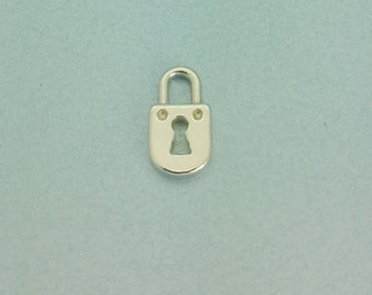 Tiny Sterling Silver Padlock Pendant. 11mm Sterling Silver Padlock Charm . Quantities available 1, 5 or 10.