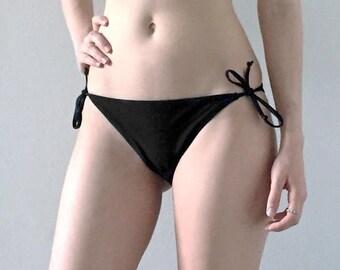 XL Bottom- The Waverly String Bikini Bottom Black X-Large
