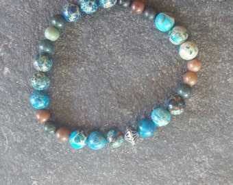 marbled blue beaded stretchy bracelet