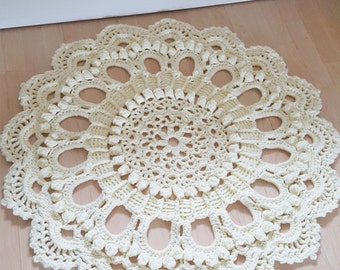 Hand Made Crocheted Doily Rug Made To Order
