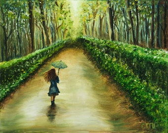 Original Oil Painting Girl Walking in Forest with Umbrella Print