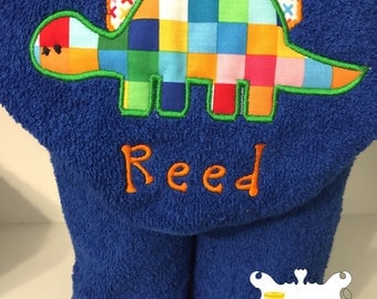 Personalized Dinosaur Hooded Towel Applique Embroidered Baby or Child Boy Girl
