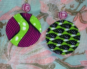 Pink and Green African Print Earrings