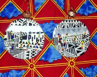 Black and White African Print Earrings