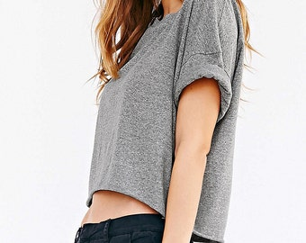 Gray Folded Sleeve Crop top Tee T Shirt