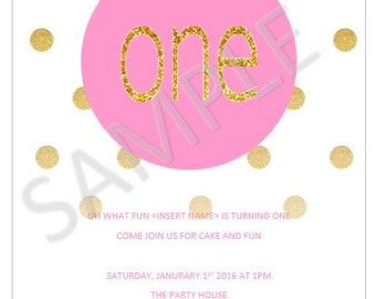 Pink and Gold Glitter Invitiation **DOWNLOAD ONLY**