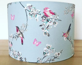 Handmade Fabric lampshade, Beautiful Birds , duck egg blue