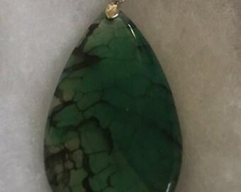 Green dragon vein agate pendant