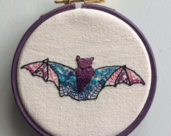 Mandala bat - hand embroidered wall art