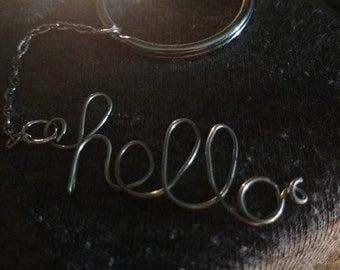 """Wire Word Keyring """"Hello"""""""