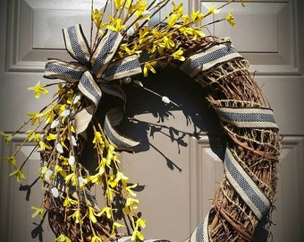 Clearance! Forsythia Spring Wreath
