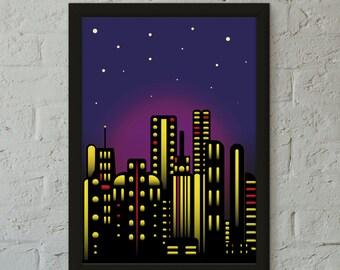 MIDNIGHT CITY Art Print, Wall Art, Home Decor, Childrens Room Print,Home Print,Loft Art Print