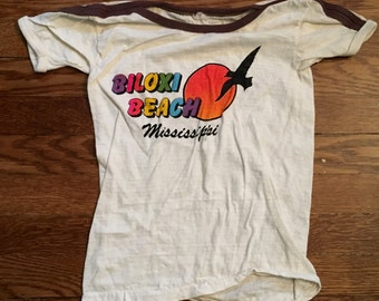 Vintage KIDS Biloxi Beach - Mississippi 1980's SOFT Ringer t-shirt (Medium)