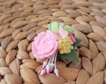 Floral Bouquet Hair Clip - Spring