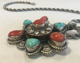 Vintage Old Pawn Coral and Turquoise Pendant