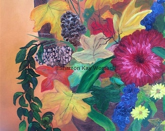 Red Flower (16x12, Enhanced Oil Painted Print)