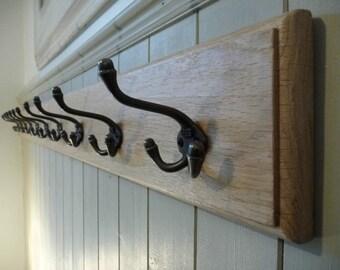 Vintage Style Wood Coat Rack - Solid Oak Cast Iron Triple Hooks - Handmade