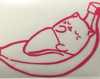 Bananya: Sleeping Bananya Cat Decal