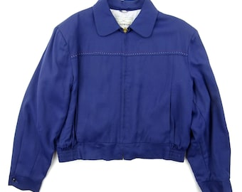 1950s WINDWARD Navy Blue Rayon Gabardine Ricky Jacket