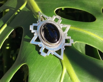 Onyx Sterling-Silver, Hand-Made, Pendant and Brooch