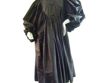 Galanos Avant Garde Black Evening Coat. 1970's.