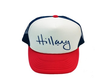 Hillary Signature Cap Mesh Back Snap Closure Red White and Royal Trucker Hat