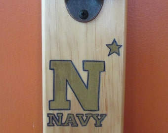 Navy Wall Mounted Wooden Magnetic Bottle Opener with magnetic cap catcher bottle cap catching opener