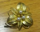 German Goldtone Mesh Leaf Brooch  Faux Pearl  1960 1970  DDR SPECIAL  Chic Boho