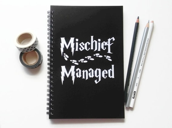 Writing journal, spiral notebook, bullet journal, sketchbook, black white, blank lined or grid paper, Harry Potter - Mischief Managed
