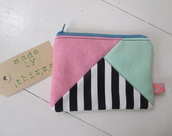Handmade purse of 100% wool felt in mint and pink