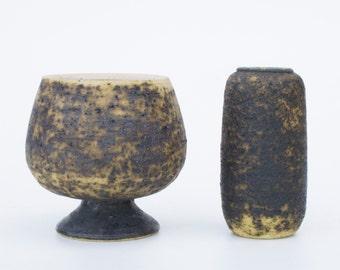 By Pieter Groeneveldt birch bark vase with free flower pot-Dutch ceramics-Vintage-Retro