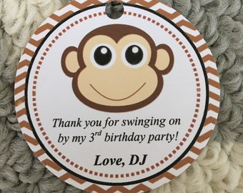 Set of 12 Monkey Thank You Tags