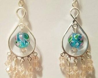 Beaded Chandelier Earrings/Rose Pink/Green/Turquoise