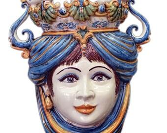 Moor's head candlestick italian pottery ceramic Caltagirone Italy