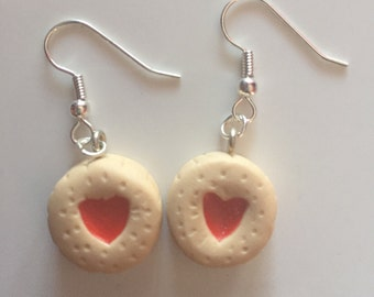 Polymer clay Jammy Dodger Earrings