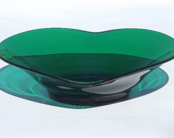 Vintage Viking Art Glass Epic Pattern Emerald/ Forest Green Large Console Bowl - Stunning!