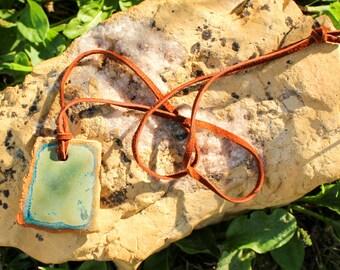 mossy-aqua ceramic pendant necklace