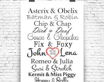 "Dream couples""art print wedding / anniversary art print art print wedding"