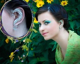 Elf Ears, Elf Cuff ear, sterling silver elf ears, Handcrafted Fantasy Blue gems earrings, Left Cuff Ear, Right Cuff Ear, filigree earrings