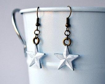 White Star Earrings, Hand Painted, Captain America / Steve Rogers Inspired