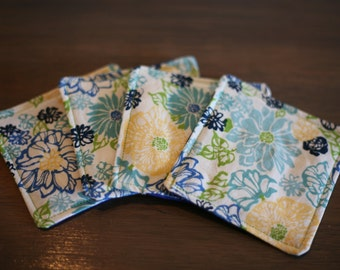 Fabric Coasters- Blue and Yellow Flowers