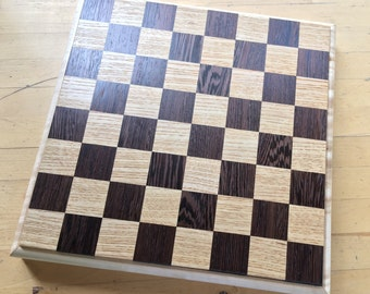 Handmade solid wood chessboard - Wenge, Ash, Curly Maple