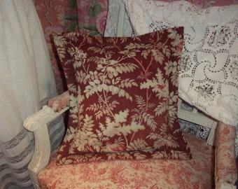 Vintage fabric cushion, late 19th, flowers and birds