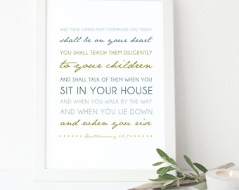 Deuteronomy 6:6-7 Printable, Bible Verse Art, Scripture Print, Typography Wall Quote, Instant Download, Art Print, High-res Printable