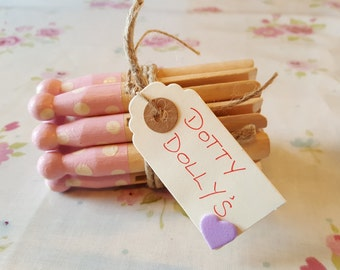 Hand Painted Wooden Candy Pink Dotty Dolly Pegs / Cottage Style / Shabby Chic